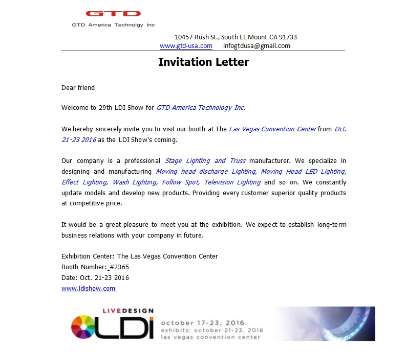 Show invitation letter invitationswedd invitation letter from ldi show gtd america technology inc stopboris Image collections