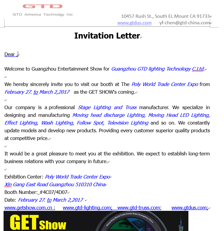 GTD Guangzhou Entertainment Show Invitation GTD America Technology