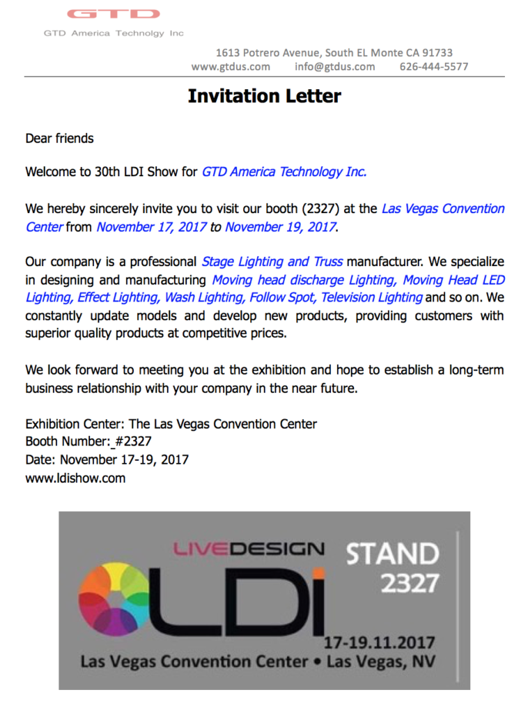Ldi exhibition invitation letter gtd america technology inc ldi exhibition invitation letter stopboris